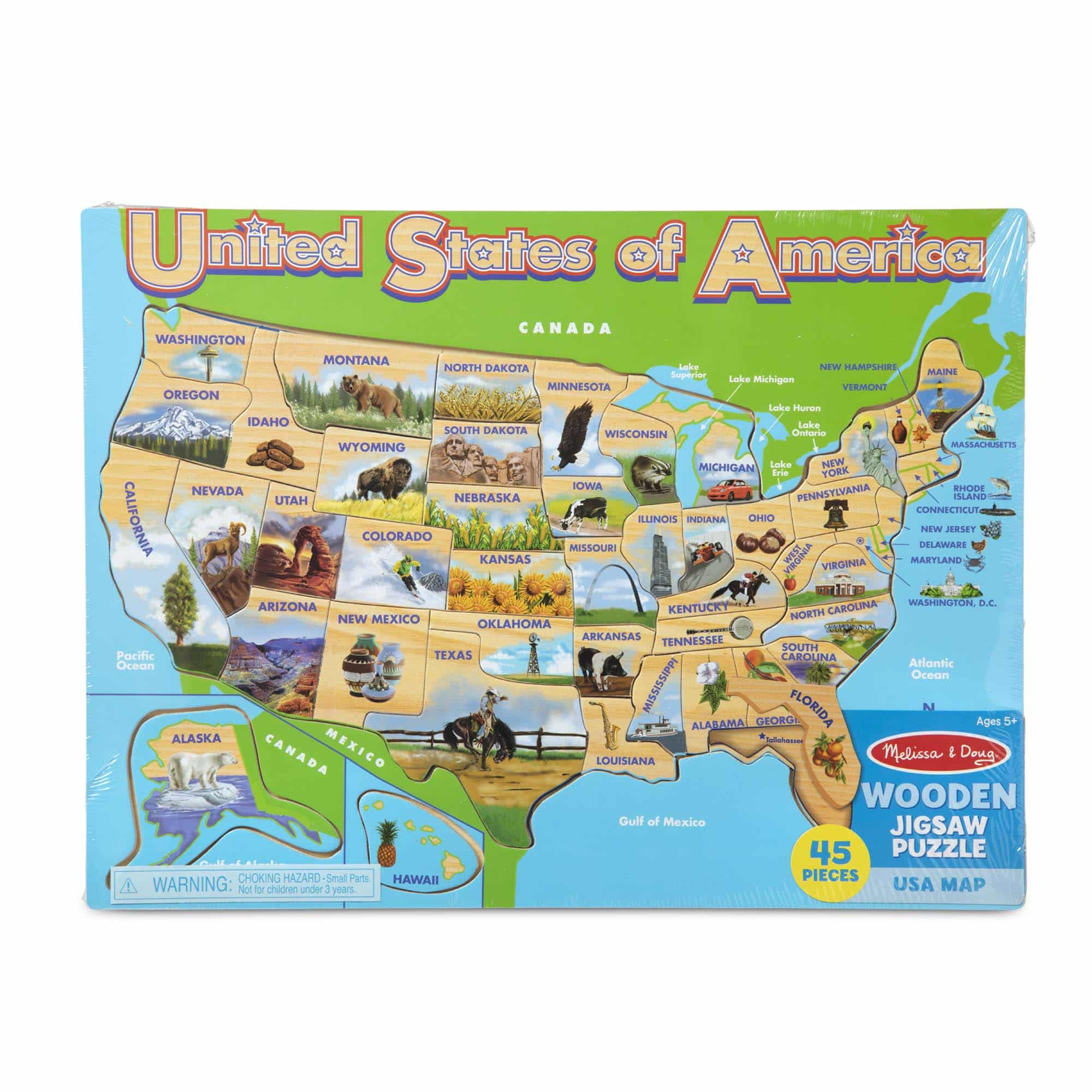 USA Map Wooden Jigsaw Puzzle - A2Z Science & Learning Toy ...